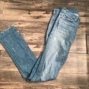 J Brand The Pencil Leg Distressed Jeans